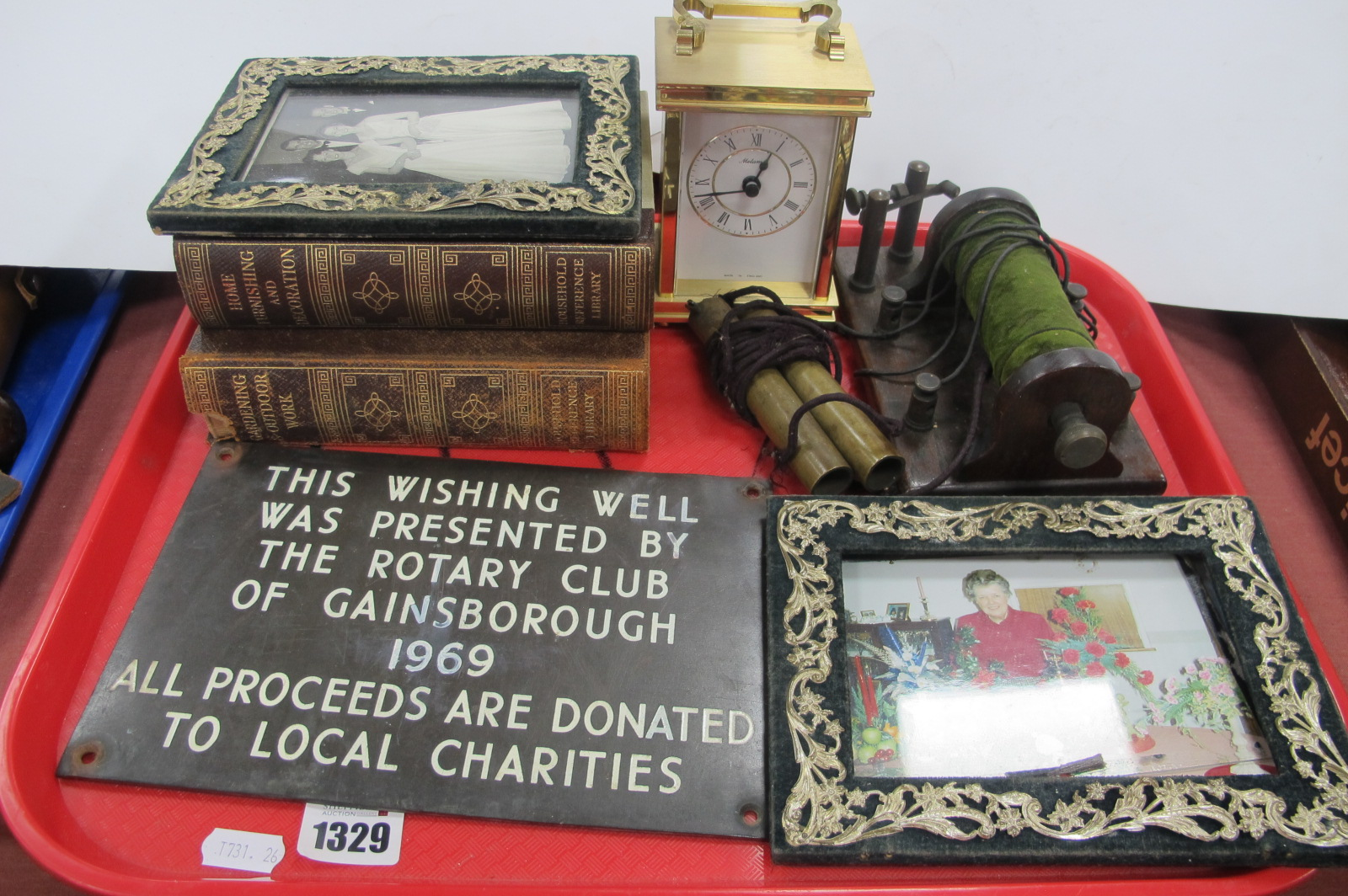 A Gainsborough Wishing Well Plaque, shock machine, photograph frames, clock, etc:- One Tray.