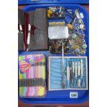 Early XX Century Needlework Set, beads, Zenette compact, etc:- One Tray