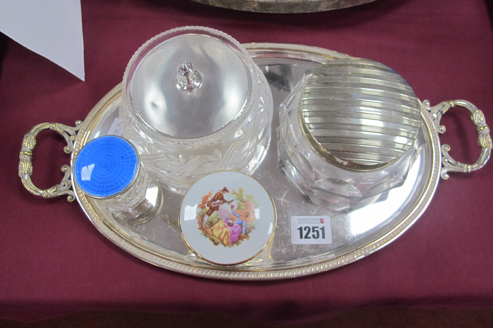 A Hallmarked Silver Lidded Glass Powder Bowl, the engine turned pull off lid (dented) Birmingham