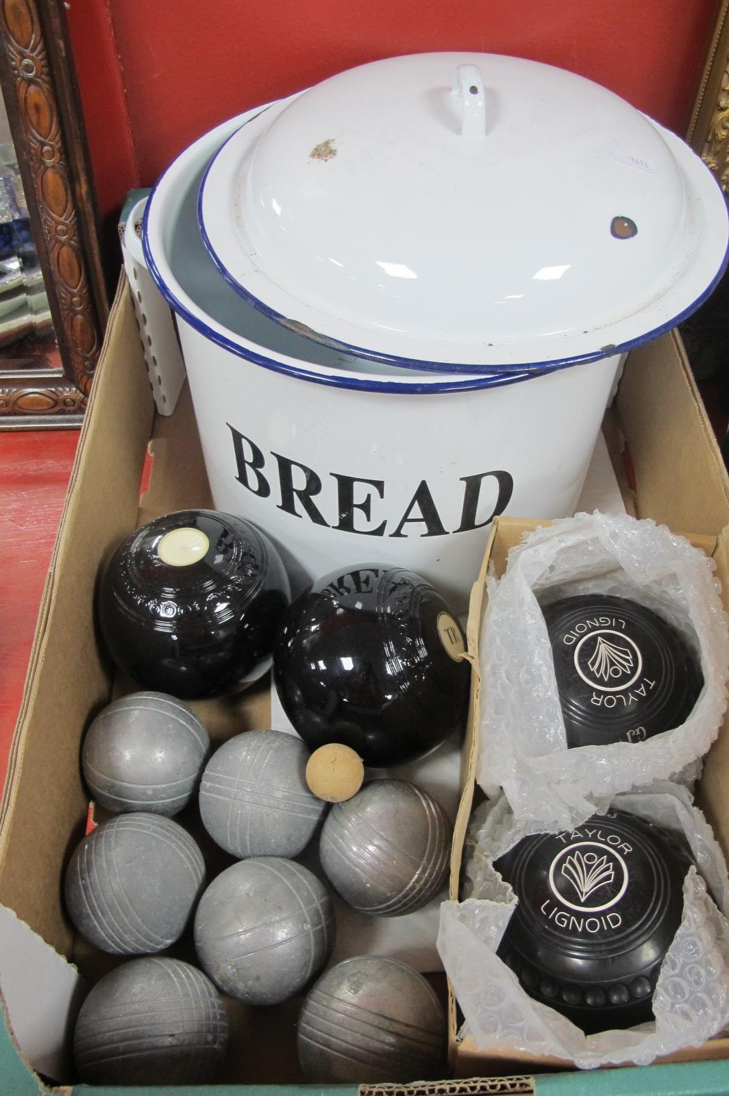 A White Enamel Bread Bin, together with Thomas Taylor crown green bowls, French bowls etc:- One