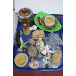 Poole Dolphin, enamelled bird, trinket, Wade Tortoise, tea canister, carved shell, etc:- One Tray.