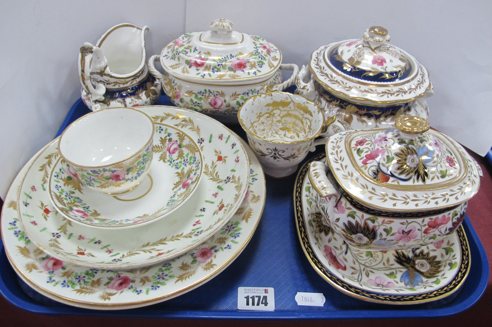Crown Derby XIX Century Sucrier, three plates, cup and saucer in gilt with pink roses, other XIX