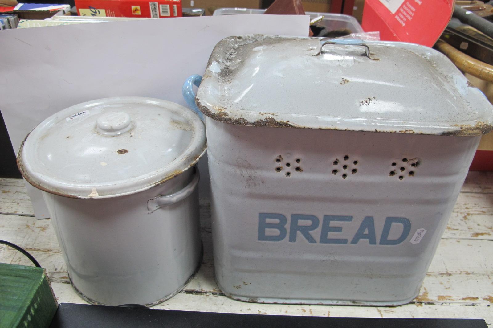 Enamelled Bread Bin, circular example, Jar, both with covers. (3)