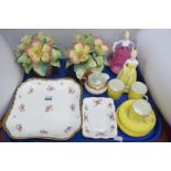 Wedgwood Square Rose Painted Dish, Italian posies, Francesca figurines, etc:- One Tray.