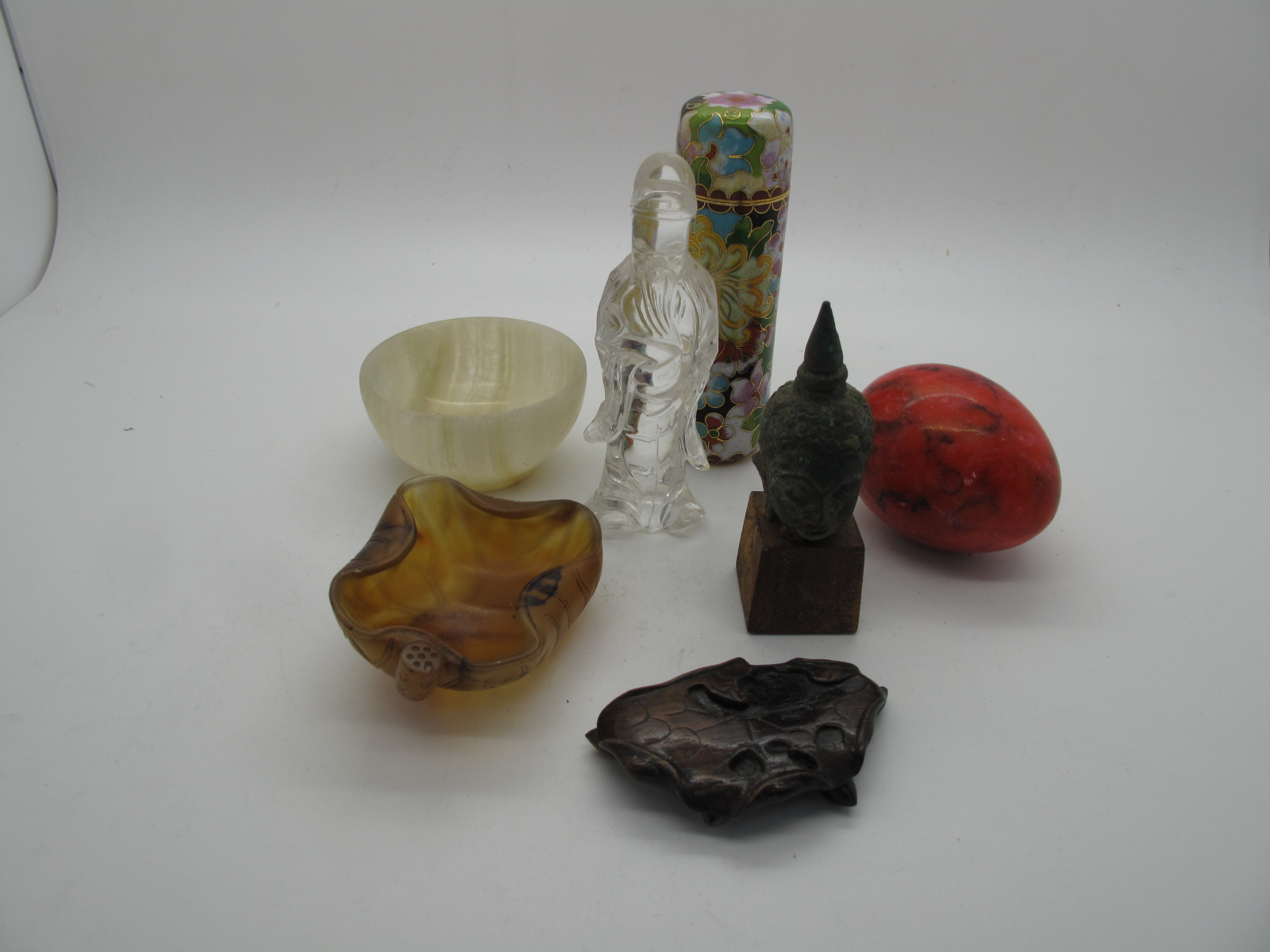 A Carved Mineral Figures of Animals, Chinese style glass figure of a bearded sage, etc:- One Tray - Image 5 of 6
