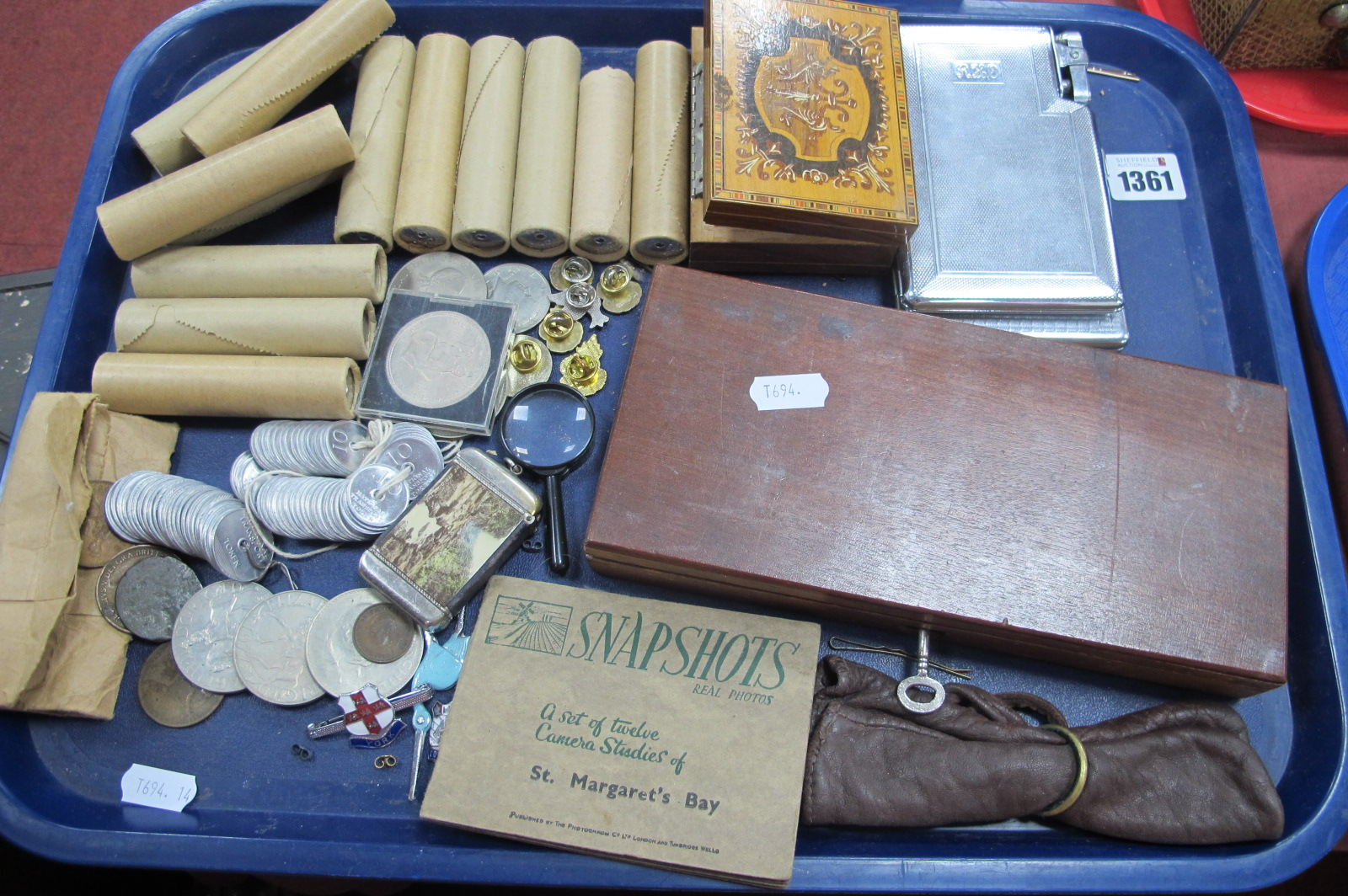 National Transport Tokens, Churchill Crowns chrome cigarette cases, badges, etc:- One Tray.