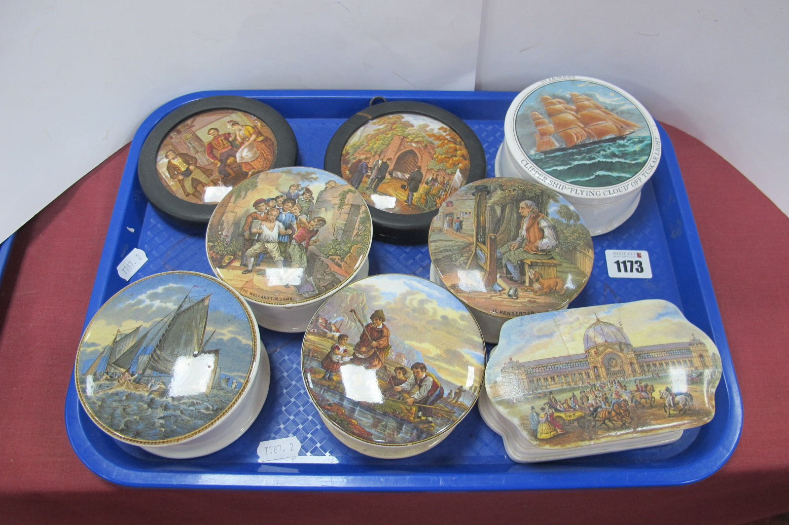 Five Prattware Type Pots, two pot lids and a Staffordshire pot 'St James's Clipper Ship 'Flying