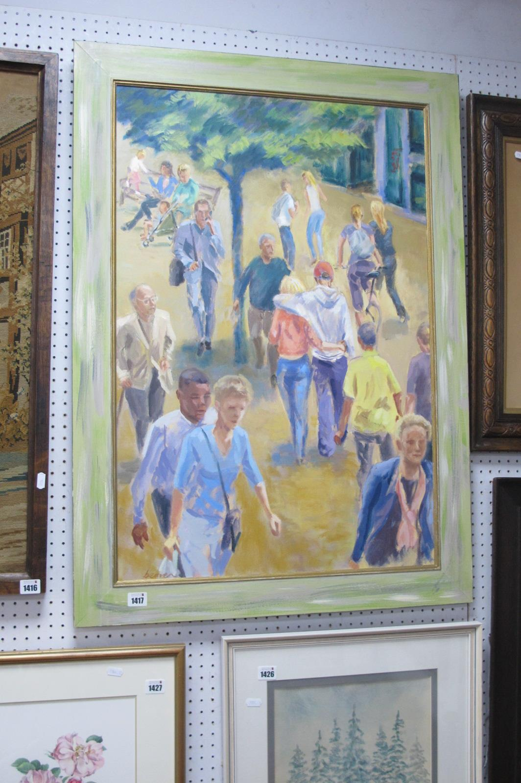Mark Beaver 'Lovers In The City', oil on canvas, 82 x 55cm, signed lower left, details and title and