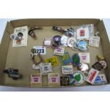 Enamelled Badges - Six Robertson's Golden Shred, Nalgo, Mold Rugby, London Airport, Labour Party,
