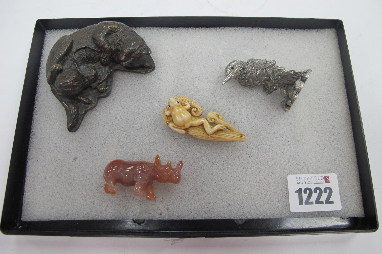 Oriental Carved Frog on Naturalistic Base, signed, 5.3cm long, mineral rhinoceros, Royal Selangor