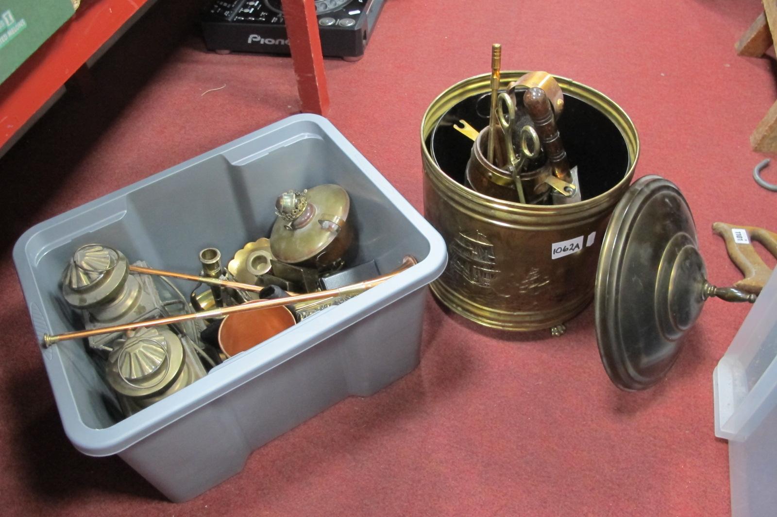 A Brass Log Box, XIX Century copper coal shovel, Allion's oil lamp, pair of lamps, other metal