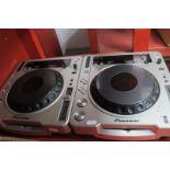 Two Pioneer Professional DJ Decks - CDJ-800 MK II CD Decks, in grey, untested sold for parts