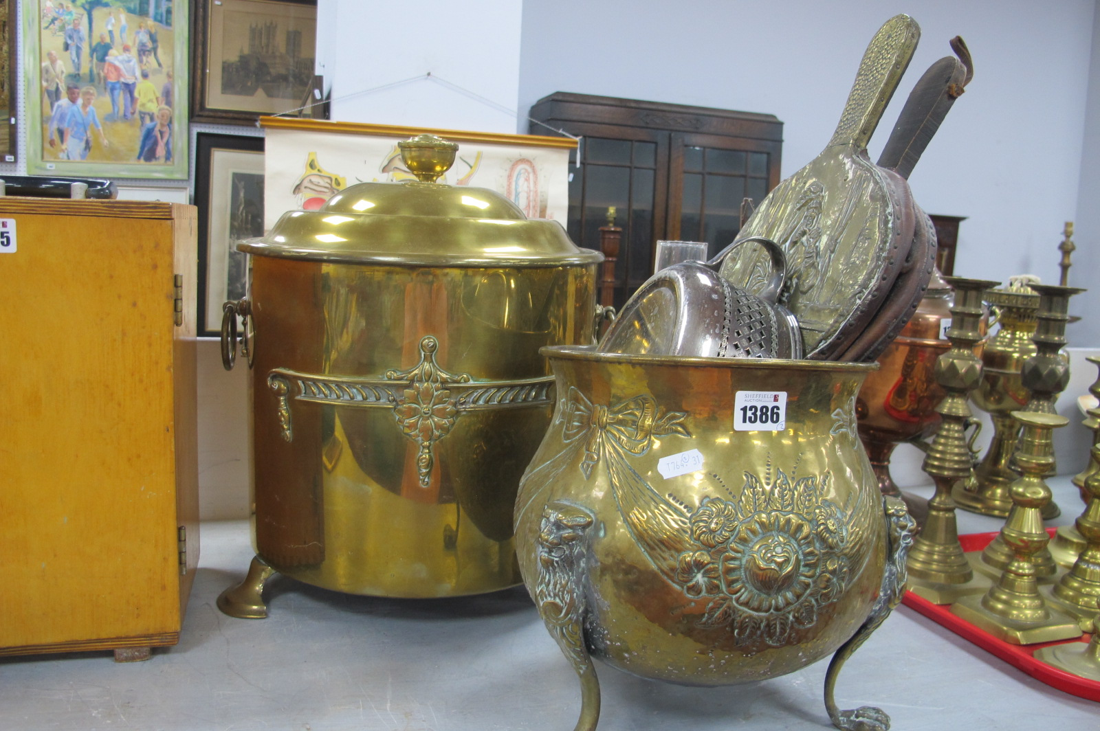 Brass Log Bucket, bellows, jardiniere, comport casserole dish holder.