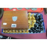 Chess Set, turned wooden, The Kings, 8cm high, with mahogany box, bearing white metal shield.