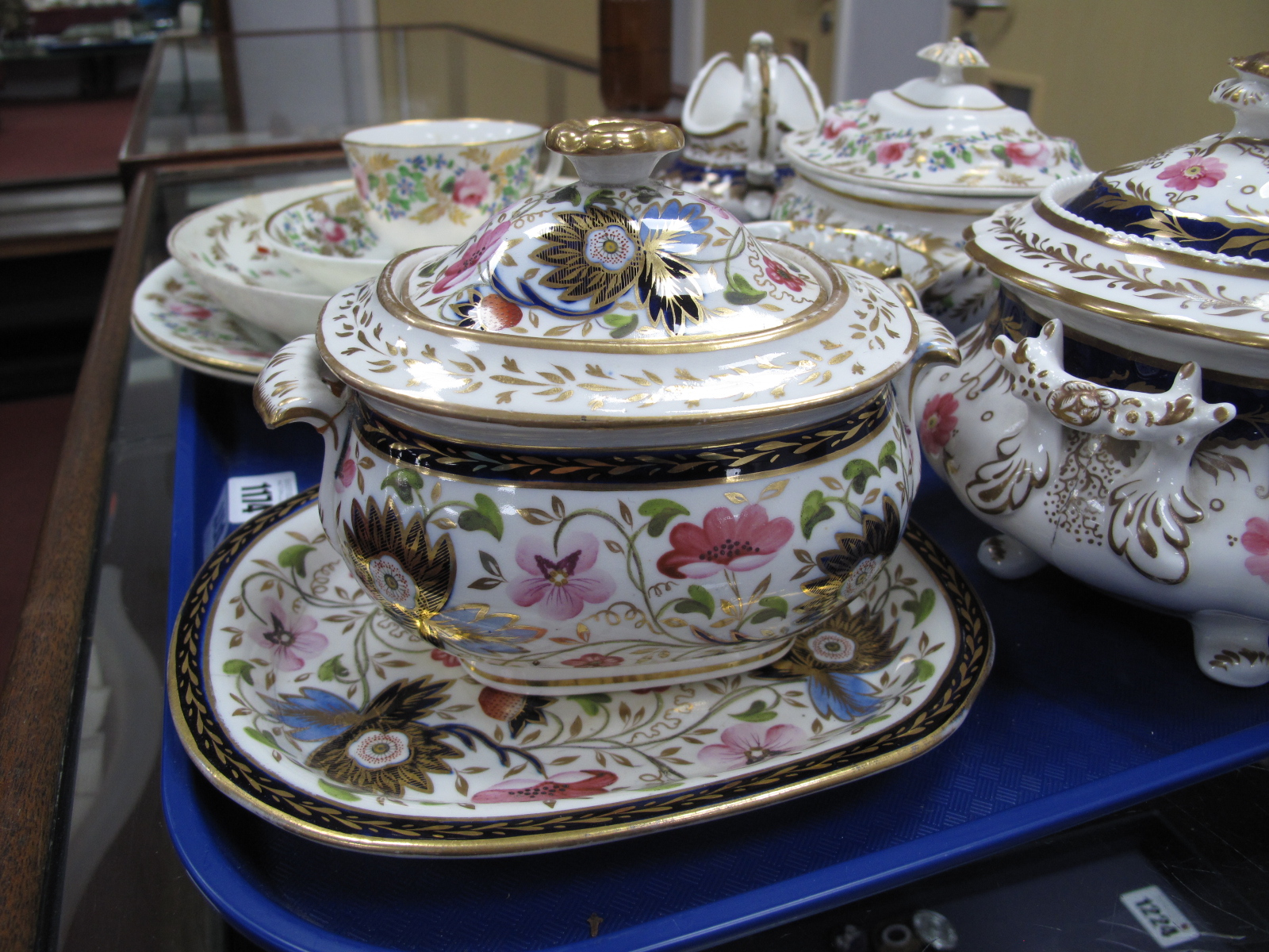 Crown Derby XIX Century Sucrier, three plates, cup and saucer in gilt with pink roses, other XIX - Image 2 of 9