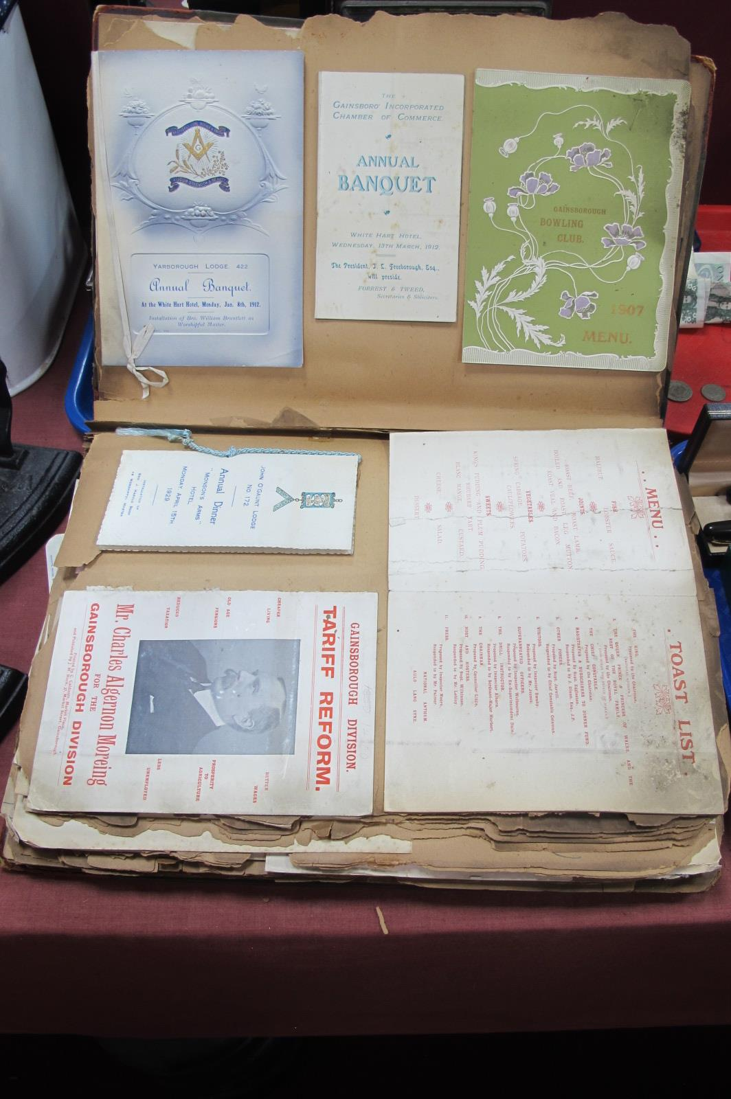 Gainsborough Paper Ephemera 1905-1930, including rowing, cricket, bowling and angling club rules,