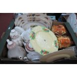 Cottage Ware, Hanley 1930's cake stand, floral and pastel teaware:- Two Boxes.