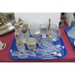 Glass Travelling Jars/Bottles, glass trinket boxes (lacking lids), glass sugar casters, etc :- One