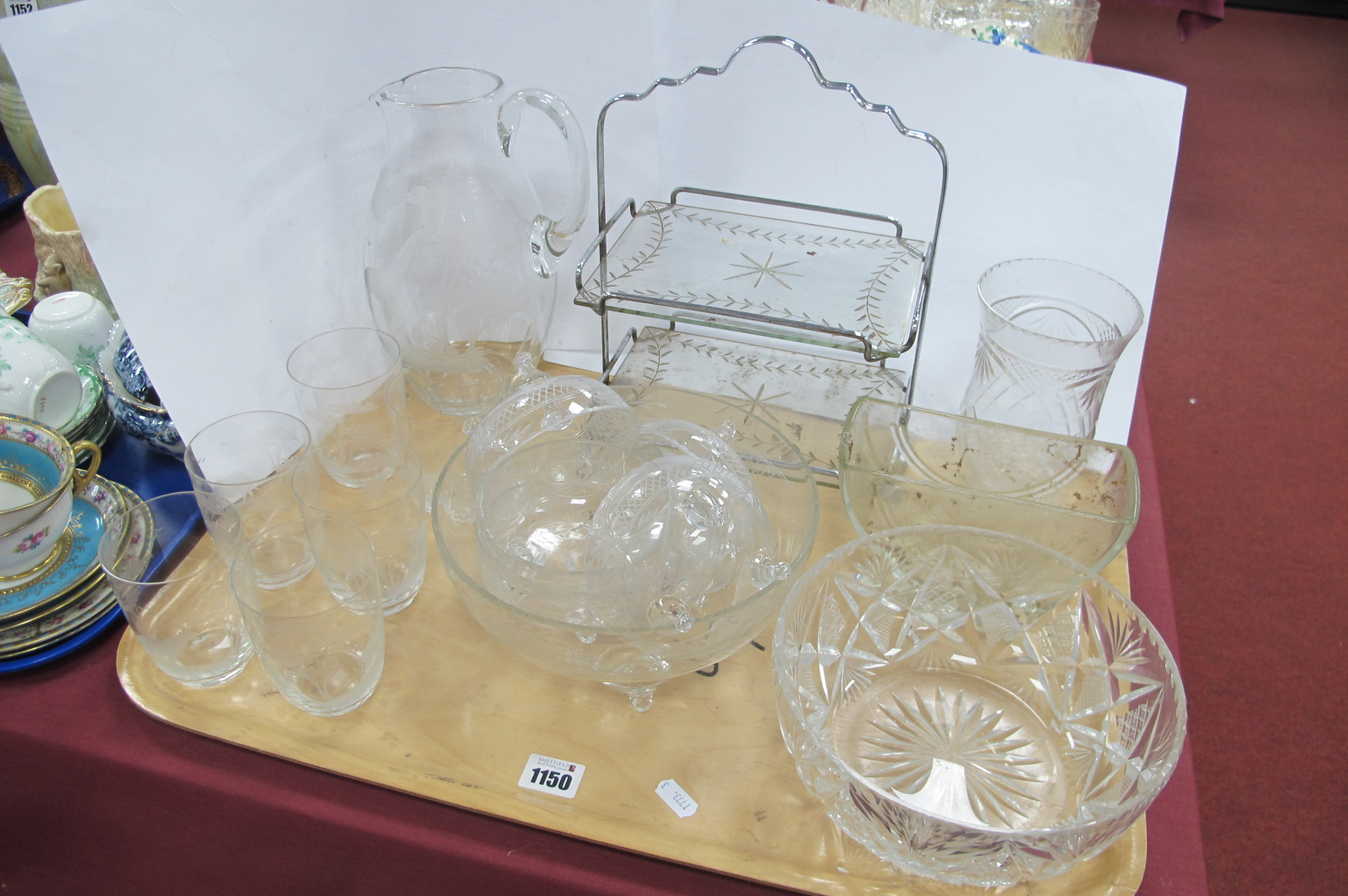 Early XX Century Glass Lemonade Set, beautifully etched, with giraffes, rhino, lion and other