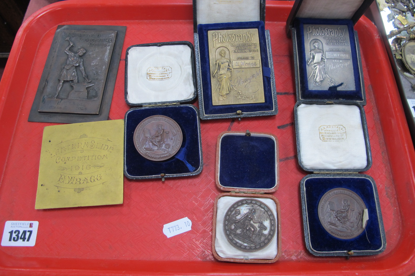 Silver Photography Plaque Awards to E.Wragg, others in brass and copper, Sunday School examples,