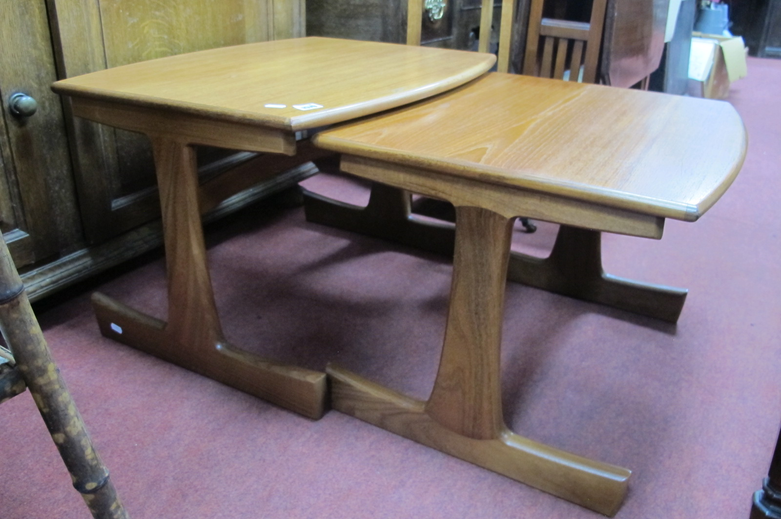 G Plan Nest of Two Teak Coffee Tables, after Victor Wilkins with curved stretchers to trestle