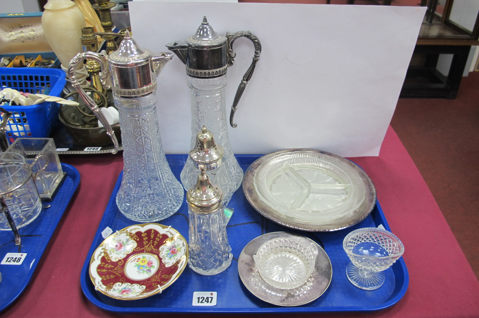 Plated Mounted Pressed Glass Claret Jugs, glass sugar casters, glass dish on plated stand, etc :-