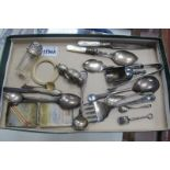 Silver Topped Scent Bottle, plated baby rattle and two silver spoons, plated ware, etc.