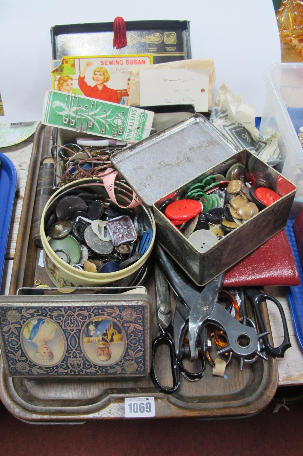 Buttons, scissors, punches, needlework implements, etc:- One Tray