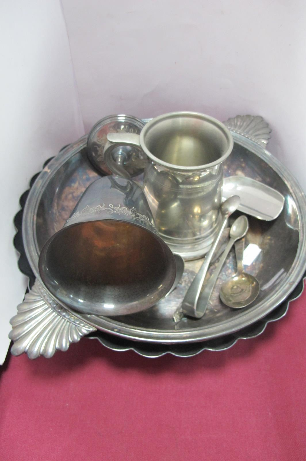 A White Metal Baby Spoon, with chick to bowl and mother to handle, Elkington fluted dish, Christofle