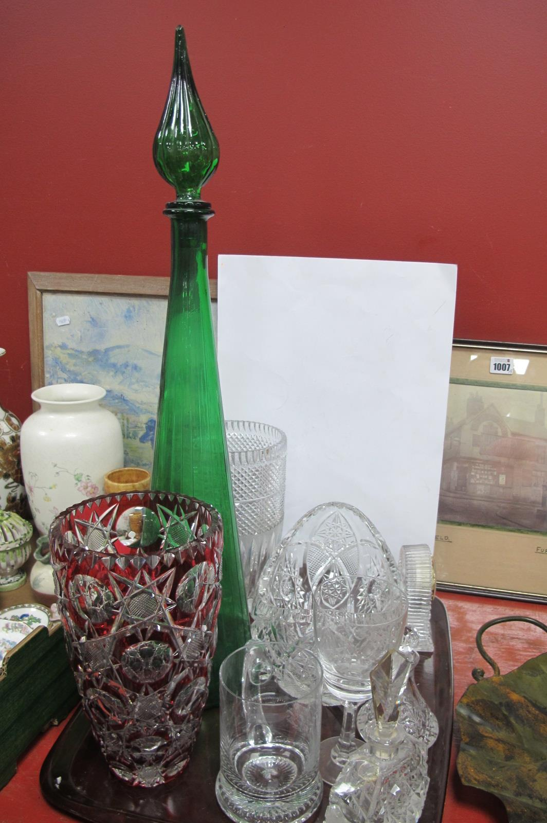 A Large Green Glass Bottle & Stopper, Ruby flash glass vase, Widdop clock etc:- One Tray.
