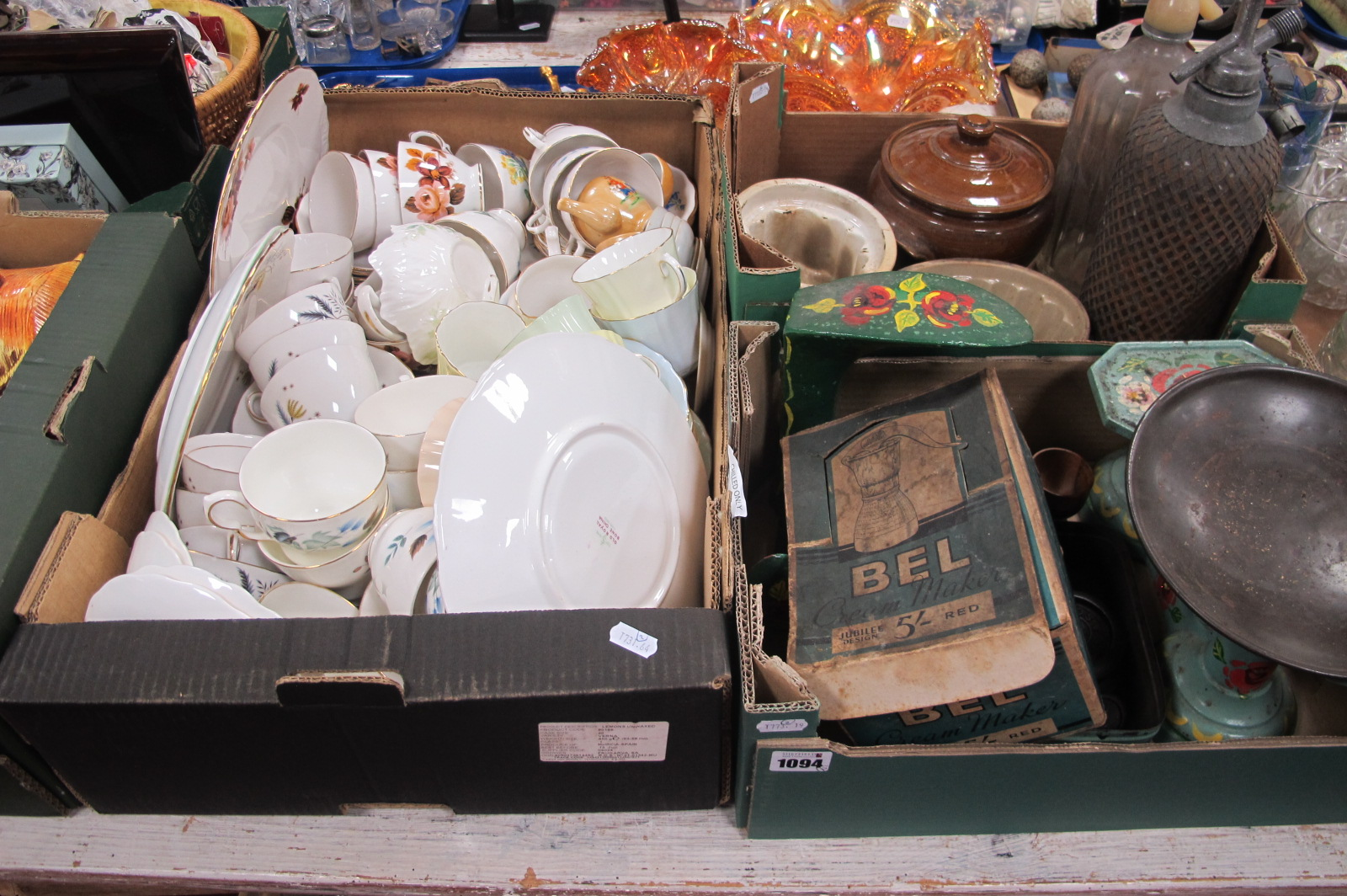 Two Soda Syphons, Bel Cream Maker, scales, weights, jelly moulds, etc:- Two Boxes