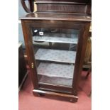 Edwardian Mahogany Display Cabinet, with knulled low back and lower panel to glazed door, on bracket