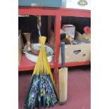 Large Fan, cricket bat, ceramics, glassware, needlework items, pictures, etc.