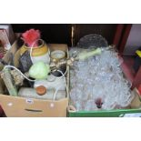Stoneware Jars, foot warmers, onyx effect lamp, glassware, etc:- Two Boxes.