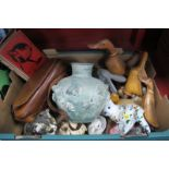 A Pottery Figure of a Cat, carved wood figures of ducks, etc:- One Box.