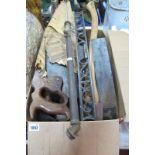 Tools - Eagle Edge Tool Axe, Disston Phila Saw, iron spirit level, garden spray, block plane, etc.