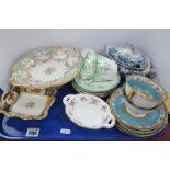 Noritake Rectangular Dish and Two Trios, 'Chatsworth' tureen, XIX Century dessert comport, etc:- One