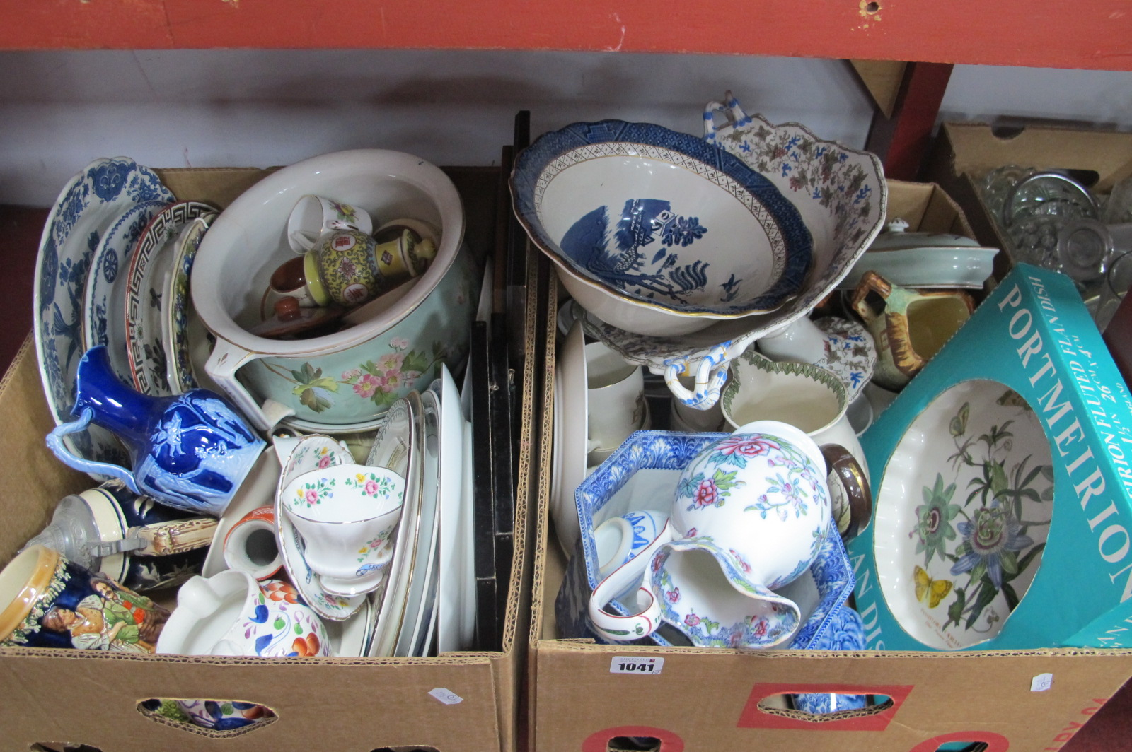 Chamber Pots, Portmeirion flan dish, other ceramics (damages):- Two Boxes.