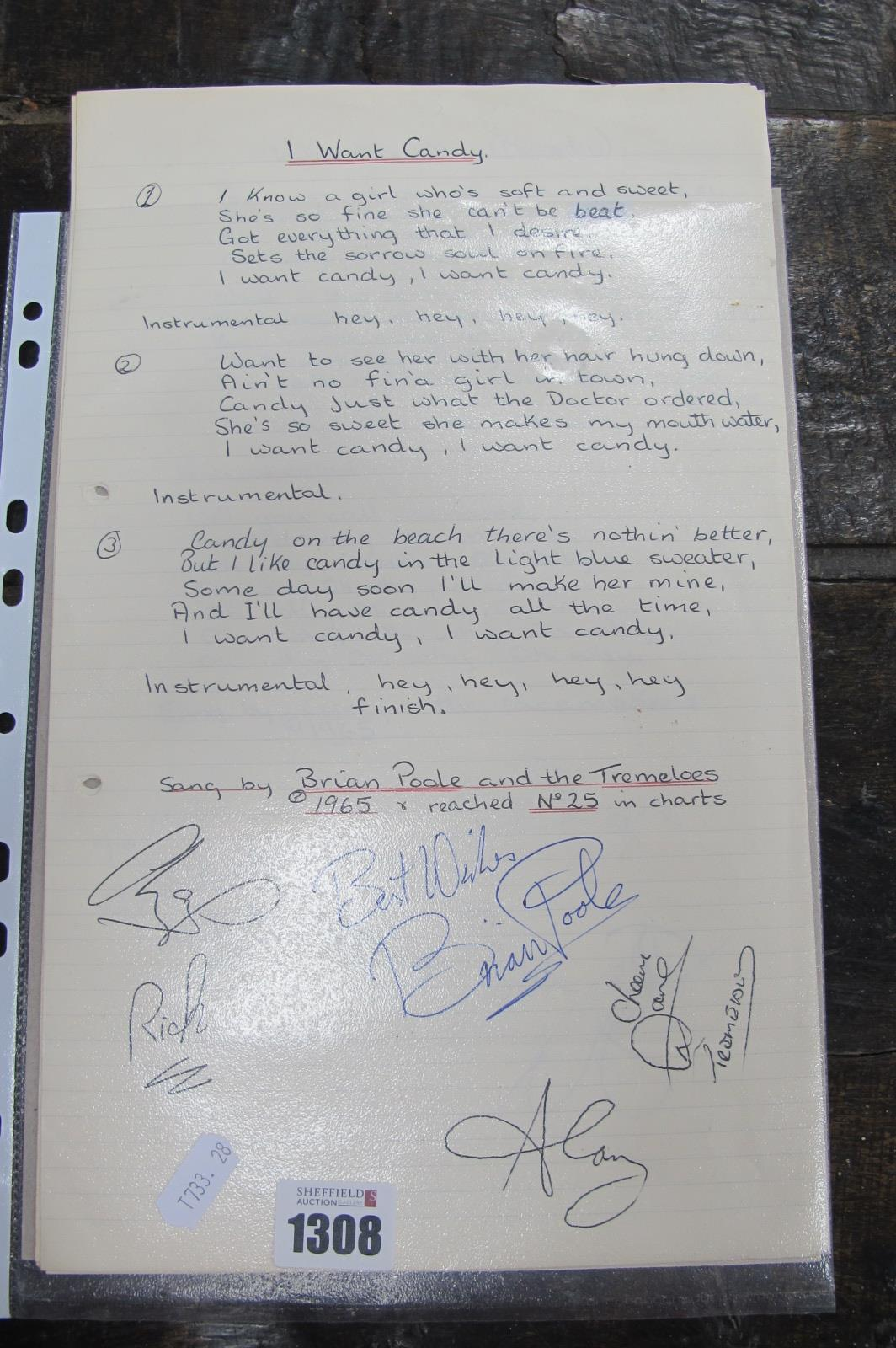 Pop Music - 1960's Autographs, Brian Poole and The Troggs; together with lyrics. Dave Berry, Freddie