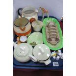 Russian Pottery Giraffe, Poole Carter Stabler Adams toast rack, Wade jugs, etc:- One Tray