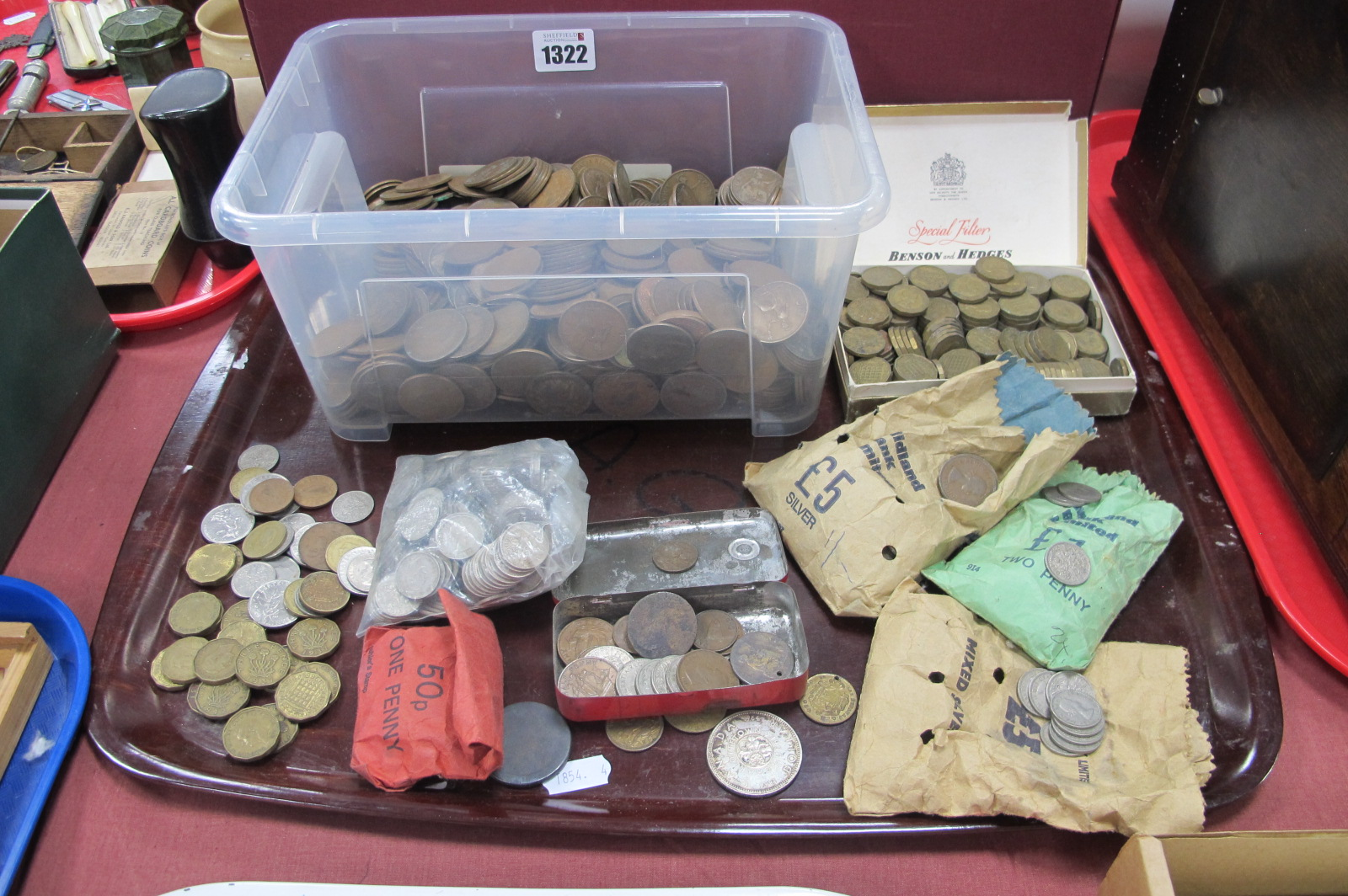 Coinage; UK Pre-Decimal - pennies, threepenny bits, sixpences, Canada dollar, etc:- One Tray