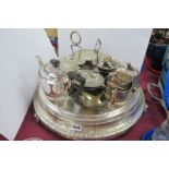 A Plated Wedding Cake Stand, overall diameter of base 46cm, raised on three feet (rust); together
