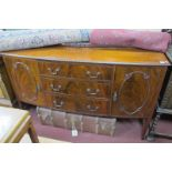 An Early XX Century Bow Fronted Sideboard, with low back, three drawers flanked by end cupboards