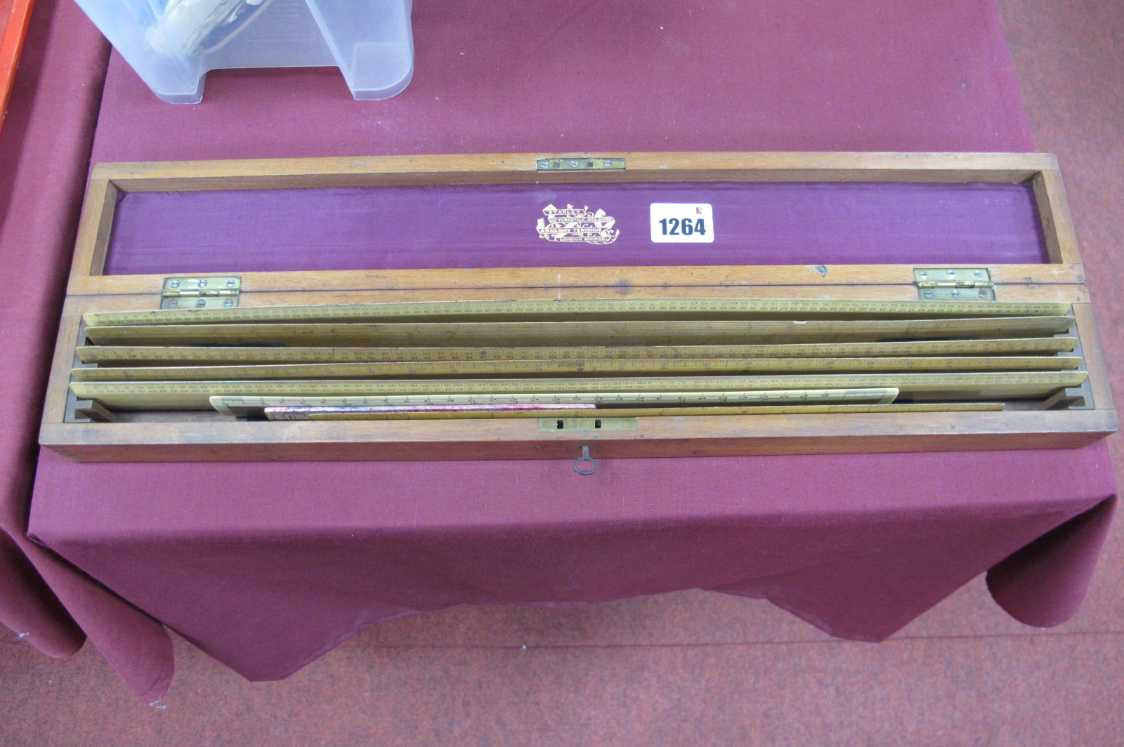 A Cased Set of Five Stanley Rulers, each with stamped makers marks, the case with brass plaque to