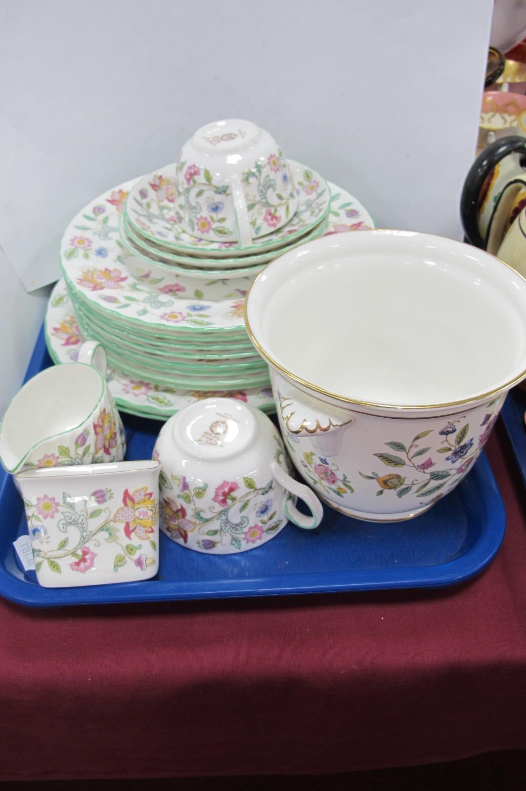 Minton Haddon Hall - two dinner plates, eight medium plates, three saucers, two cups, milk jug,