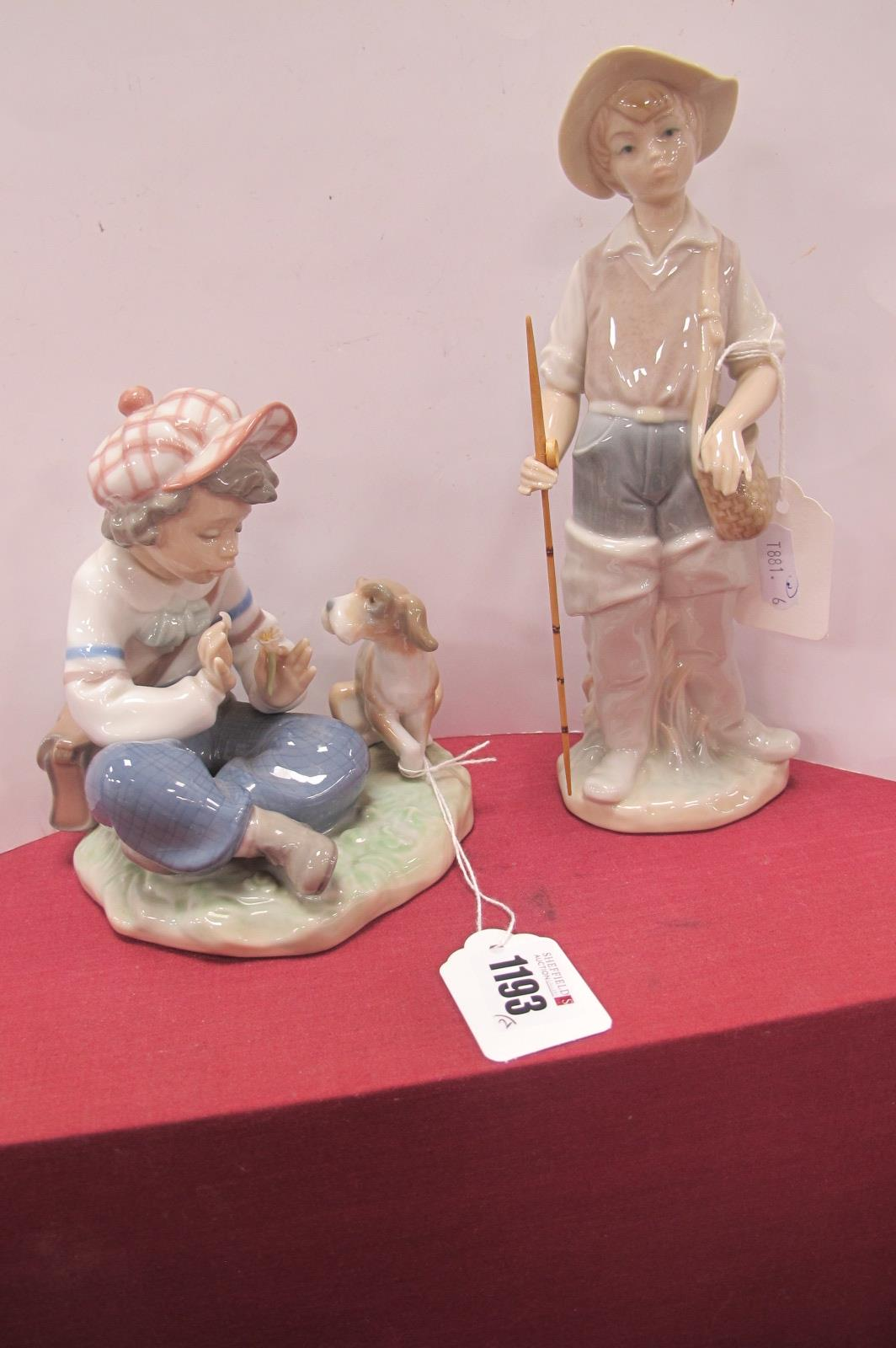 A Lladro Pottery Figure Group of Seated Boy with Puppy, stamped C-21 F plus fisherman 21cm hgh. (2)