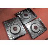 Three Pioneer Professional DJ Decks - DVJ-1000 CD/DVD Decks, in black, untested sold for parts only.