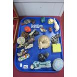 A Carved Mineral Figures of Animals, Chinese style glass figure of a bearded sage, etc:- One Tray