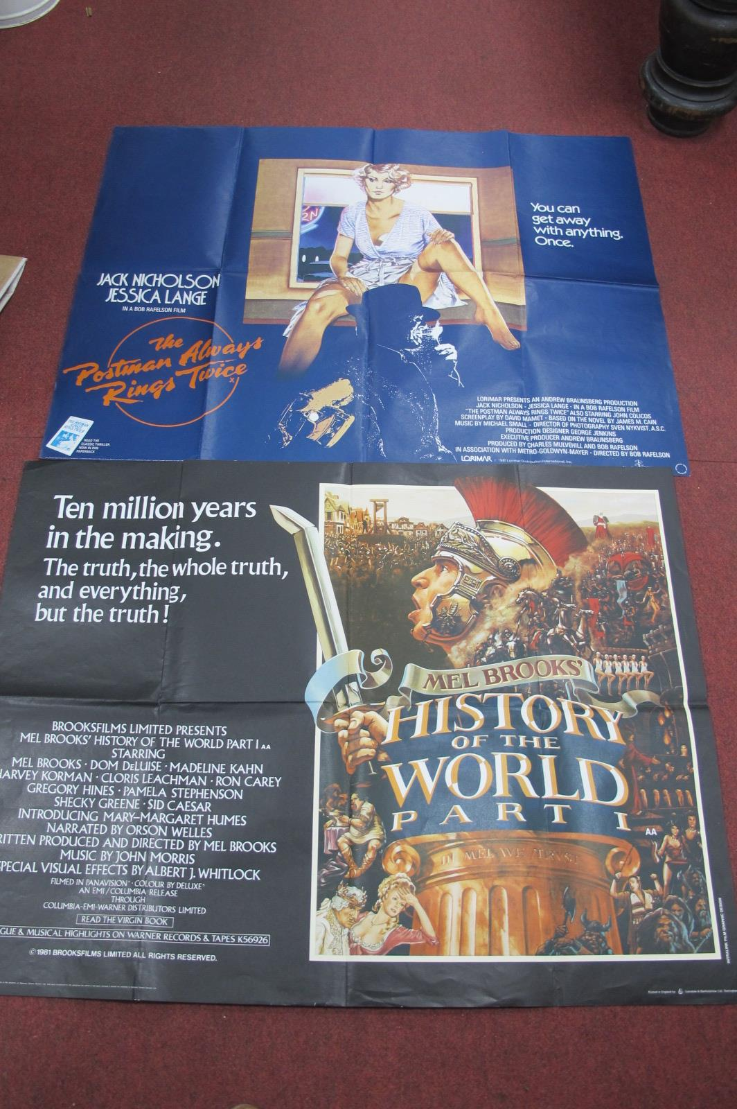 Film Posters. Quad size, 'The History of the World Part 1' and 'The Postman Always Rings Twice',