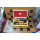 Turned Wooden Chess Set, The Kings, 8cm high, in box with board.